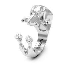 Dog Fever Silver Dachshund Hug Ring ($220) ❤ liked on Polyvore featuring jewelry, rings, silver jewelry, dog jewelry, wrap around rings, silver jewellery and wrap-around rings