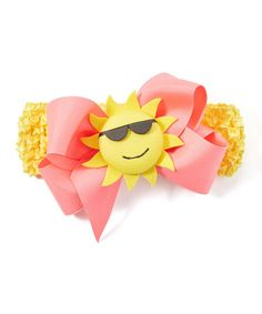 Look what I found on #zulily! Pink Crochet Sun Headb& - Girls #zulilyfinds