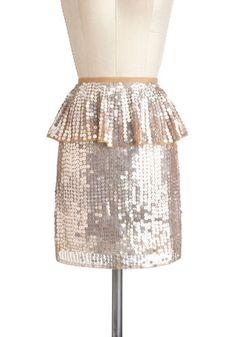 Nude/clear sequin peplum skirt