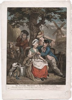 The Sailor's Present - 1778 - John Collet  Love the horizontal stripes on the waistcoat, hat trim and the shift sleeves are showing.  What is she wearing on her upper body?