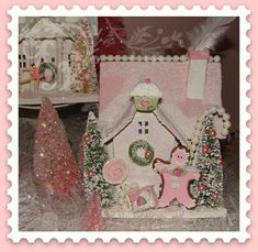 #gingerbread #glitter #cottage #pink #shabby