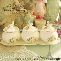 出口欧美英式维多利亚风格玫瑰碎花骨瓷糖罐七件套-2