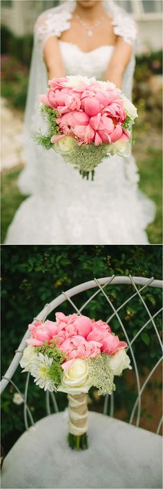 Coral and ivory bouquet with fresh greens!