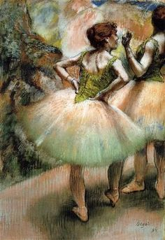 """Dancers, Pink and Green"" (1894), by French artist - Edgar Degas (1834-1917), Pastel, Private collection.:"
