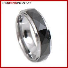 7MM SIZE 12 BLACK TUNGSTEN CARBIDE BAND RING R3404