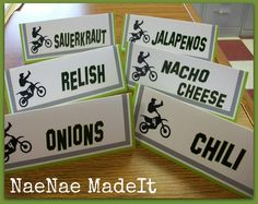 Dirt Bike Party Labels (if ferment labels for a kids party)
