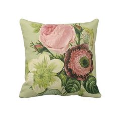 Vintage Floral pattern throw pillows and cushions by Clareville