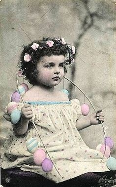 Vintage photo of little girl at Easter - purchase this photo, then use copies of it as gift wrap, tags, and more.  Adorable!  #easterdecor #vintageeaster