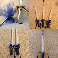 "One 24"" white taper candle delicately wrapped with blue double sided satin ribbon as a handle to prevent the candle from melting when holding it for an extended period of time and decorated with thin dark blue and yellow ribbon combined with a final touch of an evil eye charm  Two 15"" or 18"" white taper candles delicately wrapped with blue double sided satin ribbon as a handle to prevent the candle from melting when holding it for an extended period of time and decorated with dark blue hand…"