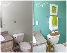 es increíble como un poco de pintura para pared y para el mobiliario y un cambio en la cortina de ducha, añadir textiles y un par de accesorios hacen que sea otro baño, Toilet, Textiles, Bathroom, Ideas, Wall Paintings, Rain Shower Heads, Blinds, Home, Accessories