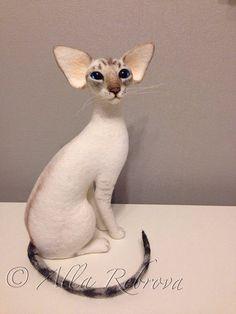Benutzerdefinierte Nadel Filz 100 % Wolle. Siamkatze / Skulptur Memory Pet Portrait Pet Replik gefüllt Katze