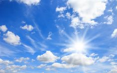 Download wallpapers blue sky, white clouds, sun, beautiful sky