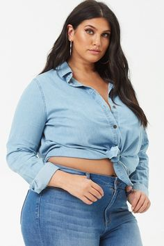 667bb60d1240b Product Name Plus Size Chambray Curved Hem Shirt