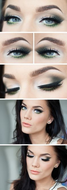 """Today's Look : """"Green Glitter"""" -Linda Hallberg ( a gorgeous eye done in a perfectly subtle smokey eye with a beautiful mossy green ) - March 09 2019 at Love Makeup, Makeup Inspo, Makeup Inspiration, Makeup Tips, Beauty Makeup, Makeup Looks, Hair Makeup, Cheap Makeup, Makeup Ideas"""