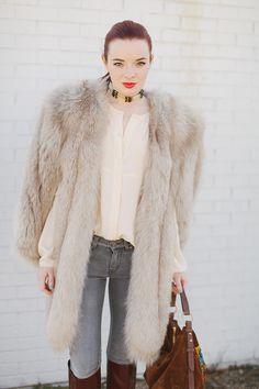 Wearing a 40s fox fur cape with a bone choker, thrifted blouse, Stella McCartney jeans, Chloe...