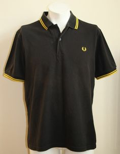 Vintage Fred Perry Polo Shirt Size L Fashion Designer Mens Black Made in England