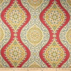 Waverly Moonlit Medallion Twill Golden from @fabricdotcom Screen printed on cotton twill, this versatile lightweight (approx. 5.4 ounce) fabric is perfect for window treatments (draperies, valances, curtains and swags), toss pillows, bed skirts, duvet covers, some upholstery and other home decor accents. Create handbags, apparel (skirts, lightweight jackets, pants) and aprons. Colors include teal, olive, amber, red and metallic gold on a beige background. This fabric has 51,000 double rubs.