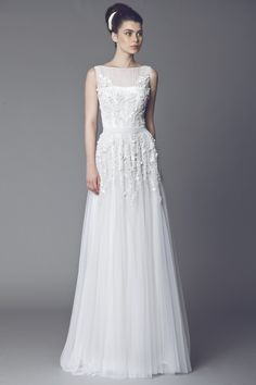 Tony Ward Bridal 2015 I Look 06 I ACHILLÉE - Tulle Off White gown embroidered with flower petal appliques, draped belt and a sheer neckline