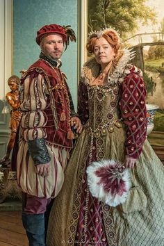 Queen Elizabeth and Robert Dudley costumes, English 16th century.  Reproduction by Angela Mombers. Picture made by Ardi Mulder Photography
