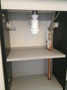 Neat Pipework In Cabinet With Bathroom Installation In Leeds Downstairs Cloakroom, Downstairs Toilet, Master Bathroom, Small Vanity Unit, Understairs Toilet, Bathroom Under Stairs, Small Toilet Room, Veneer Door, Toilet Cistern