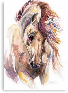 Colored Horse Art Print by Kelley Meredith Art - Watercolor Horse, Watercolor Paintings, Painting Abstract, Diy Painting, Watercolour, Arte Equina, Horse Artwork, Horse Paintings, Horse Drawings