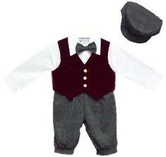 12MO - Holiday Style- Boys Burgundy Knicker set w/ Velvet Vest Made in USA. Machine Washable. Burgundy 5 Piece Set. Great for weddings. Special Occasion Wear.  #JustDarling #Apparel