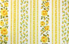 trellis roses in yellow, a vintage sheet fat quarter