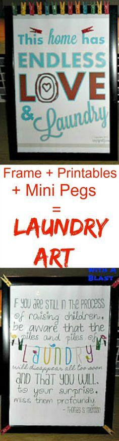 Plain Frame + Free Printables {links incl.} + Mini Art Pegs = colorful Laundry Art         #Laundry #Printables