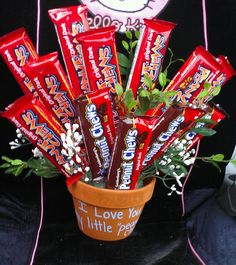 "Valentines Day Idea. The pot says ""I Love You my little Peanut Chew!"""