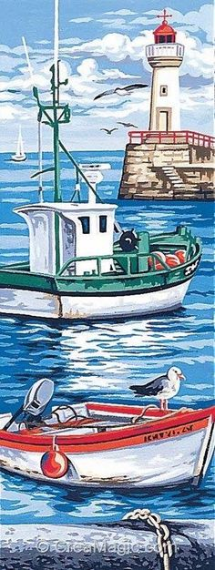 les-bateaux-margot Great examples to paint on rocks. Lighthouse Painting, Boat Painting, Painting & Drawing, Nautical Art, Sea Art, Painted Rocks, Folk Art, Watercolor Paintings, Art Drawings