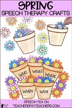 Spring speech therapy crafts are fun for the kids and no prep for you! This spring articulation and language activity will be a big hit. Spring speech therapy activities are a must in your speech room to engage your students in functional activities. Students will stuff their sounds and language concepts into the easy to make pot. Perfect to send home for homework and carryover. It includes categories, WH questions, synonyms, antonyms, homophones, and more! Click for more info.