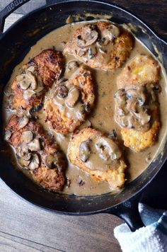 Comfort food all the way. Pan Fried Pork Chops smothered in Mushroom Gravy.