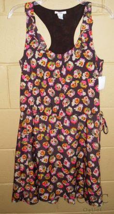 Bar III NEW Racerback Sundress Ruffle Front Dress Ruching Brown Floral Small