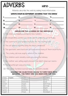 Two worksheets to help students learn and practice identifying and using adverbs in sentences. Great as a review or homework activity. Includes: - Write down your own adverbs. - Underline the adverbs in the sentences. - Change each adjective to an adverb. - Write the three adverbs in a sentence. - Write ten sentences and circle the adverb. handout printable worksheet workbook review no prep answers learn classroom student teach homework grammar activity