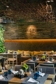 Fish Fusion Restaurant, Ukraine by YOD Design Lab Restaurant Lounge, Restaurant Furniture, Seafood Restaurant, Restaurant Ideas, Bar Interior Design, Interior And Exterior, Industrial Restaurant Design, Cafeteria Design, Nightclub Design