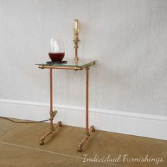Industrial Side Table with integrated lamp | End Table | Lighting | Copper | Brass | Coffee Table | Unique | As seen in House & Garden
