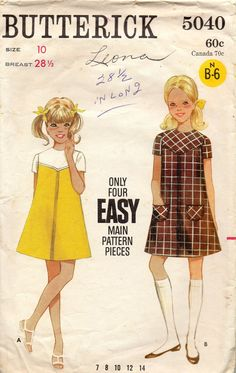 Butterick 5040 1960s Easy A Line Girls Dress Pattern by mbchills