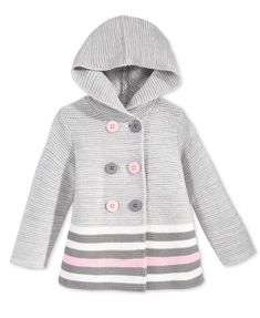 First Impressions Baby Girls' Double-Breasted Striped Hooded Sweater, Only at Macy's | macys.com