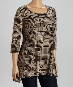 Look at this #zulilyfind! Tan & Black Geometric Sidetail Tunic - Plus #zulilyfinds