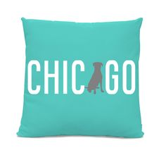 Chicago Labrador Pillow - Chicago Home Decor - Lab pillow - dog breed silhouette pillow - dog home decor - Dog Pillow - Teal Pillow by sophisticatedpup on Etsy