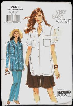 52776815d07 Uncut Size 20 22 24 Very Easy Koko Beal Shirt Pants Shorts Vogue 7597 Sewing  Pattern Bust 42 44 46 Plus Loose Fitting