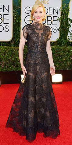 Cate Blanchett in high neck, sheer lace gown at Golden Globes 2014
