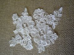 Ivory Flower Alencon Applique with Cord Embroidery by FabricBistro