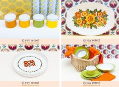 You just might have guessed that yay retro! love orange and green together!