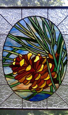pine cone stained glass pattern | Stained glass pine cone window from a design by Chantal Pare`, sold
