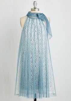 I can't wear this style, but dang, I love the aesthetics of it! Time and Grace Dress in Dusty Blue by Ryu - Mid-length, Knit, Lace, Blue, Tan / Cream, Lace, Tie Neck, Prom, Wedding, Party, Bridesmaid, Homecoming, Vintage Inspired, 20s, Pastel, Tent / Trapeze, Sleeveless, Variation, Daytime Party