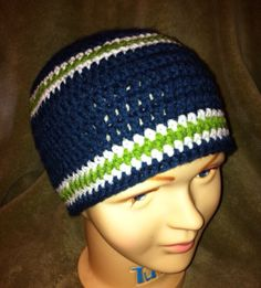 Seattle Seahawks adult regular or extra large handmade crochet beanie hat  in medium blue and green b028b1bb9
