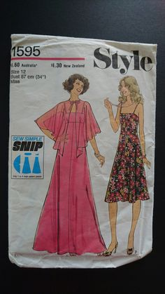 "70s glam- diaphanous Simplicity 70s does 30s style- evening gown or dress- b34"" cut pattern by StarletPatterns on Etsy"