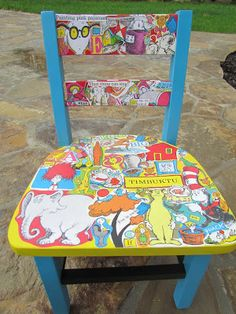 Dr. Suess decoupage and hand painted children's chair Shopdog Furniture