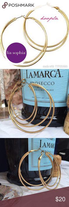 """LIA SOPHIA HOOPLA Earrings LIA SOPHIA HOOPLA Earrings, matte gold lightly textured on French wires Size: 2"""" Lia Sophia Jewelry Earrings"""